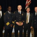 Left to Right : Community Relation's Executive Director Blaine Griffith, Lt. Frank Bolon, Cleveland Police Foundation Board Member James Craciun, and Second District Commander Thomas Stacho.