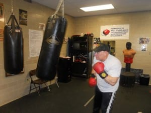 Captain Sulzer floats like a butterfly as he works the heavy bag that was donated by The Cleveland Police Foundation