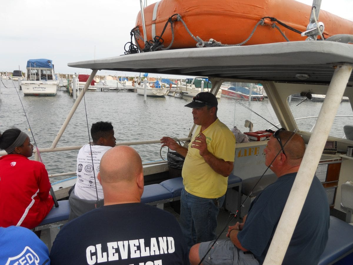 Fourth district cops for kids fishing outing the for Fishing charters cleveland ohio