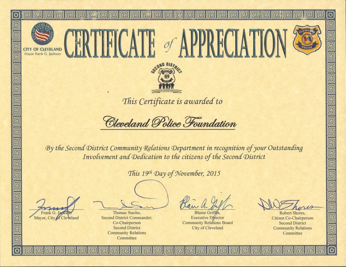 Cleveland police foundation receives certificate of appreciation on behalf of the cleveland police foundation i would like to thank the second district community relations committee for bestowing upon us a certificate of xflitez Choice Image