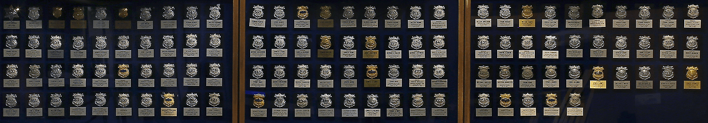Badges of officers who were killed in the line of duty