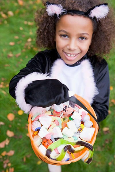 Little girl trick-or-treating