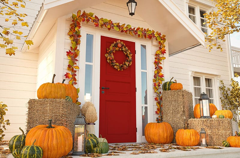 Porch decorated for Thanksgiving