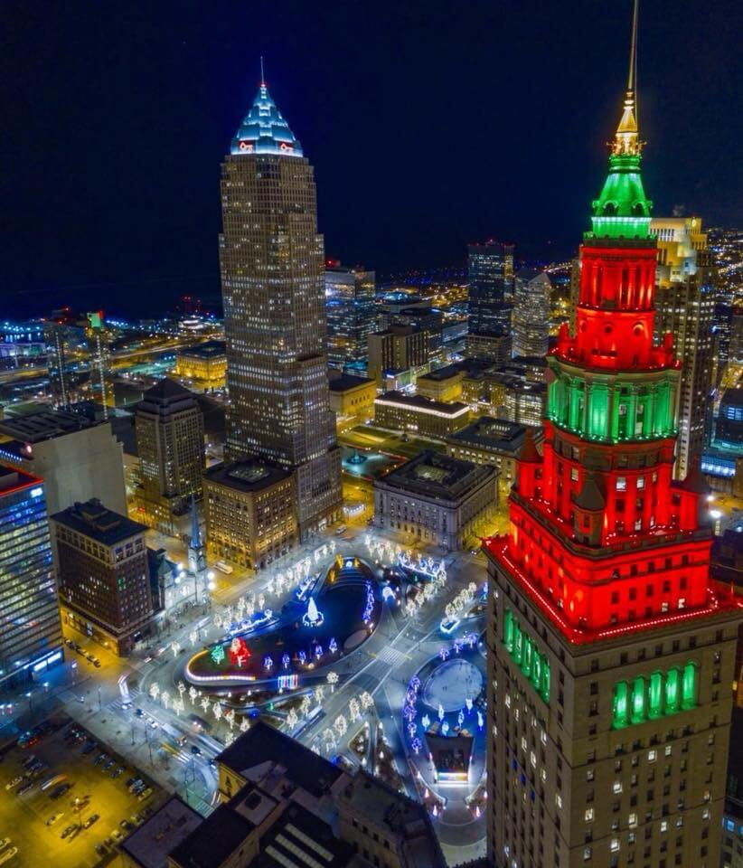 Christmas 2017 showing downtown night view