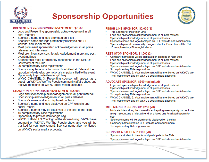 2018 Sponsorship Opportunities screenshot